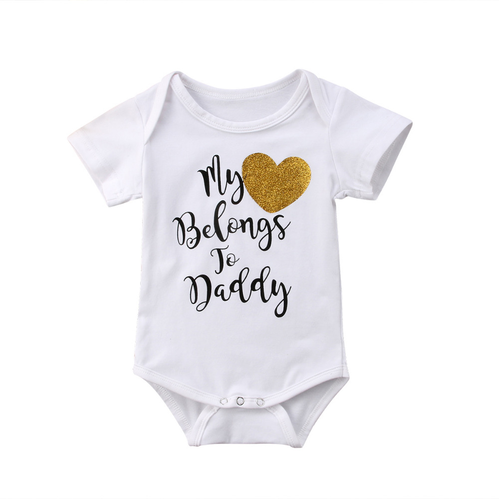 6e16a4e1da8 Newborn Infant Baby Girls Short Sleeve My Heart Belongs To Daddy Romper Outfits  Clothes Summer baby