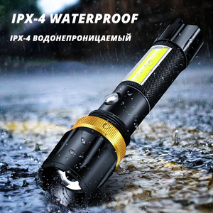 Image 4 - Super bright Waterproof LED Flashlight With COB side light Rotary zoom 3 lighting modes Powered by 18650 battery for camping