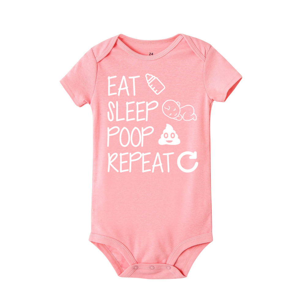 Newborn Summer romper Eat Sleep Poop Repeat Infant Toddler Baby Boy Girl Funny Letter Romper Jumpsuit Clothes Outfit | Happy Baby Mama