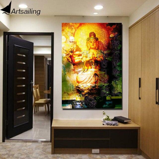 1 piece canvas art large buddha wall art meditation canvas Painting ...