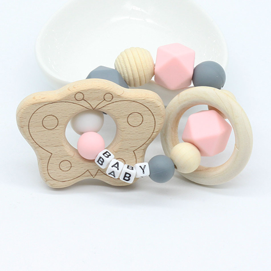 Personalized Name Teething Ring Wooden Bird Teether Baby