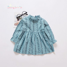 New Spring Autumn Retro casual Long Sleeve baby girls Willow branches dresses princess infant tutu o-neck Dress (No snailS)S4708