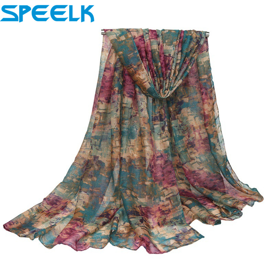 2019 Women Spring Autumn Scarf Fashion Balinese cotton linen Scarves Shawls And Wraps Lady Foulard Flower Hijab Stoles Wholesale(China)