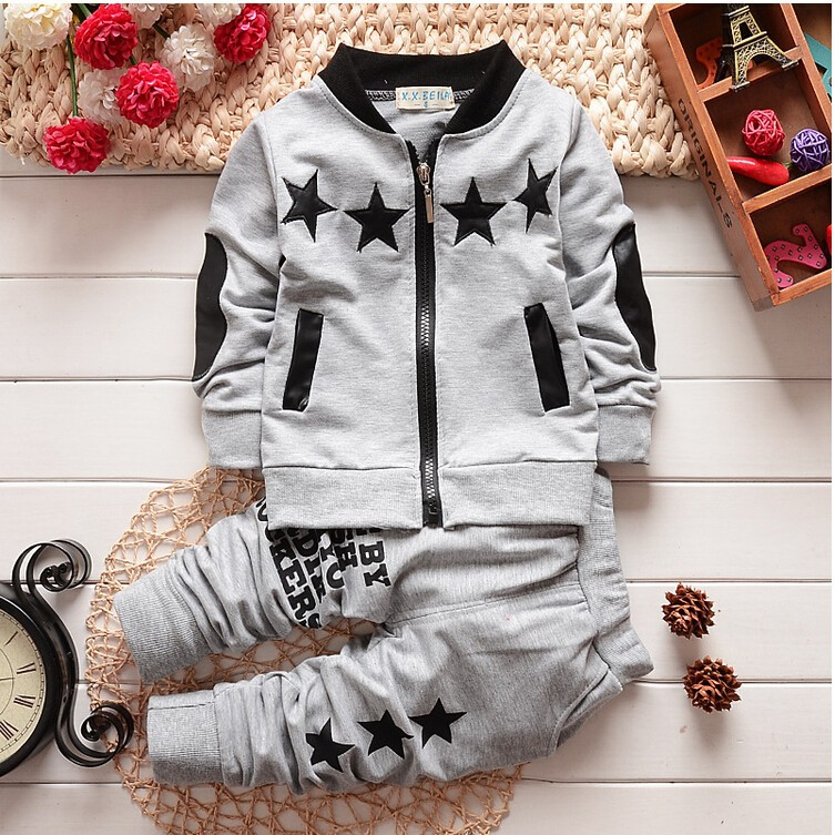 BibiCola Infant Clothing Sets Autumn Small Child Sport Suit clothes boys tracksuit Baby Star Zip cardigan outfits sweatsuit ribbed zip up jacquard cardigan
