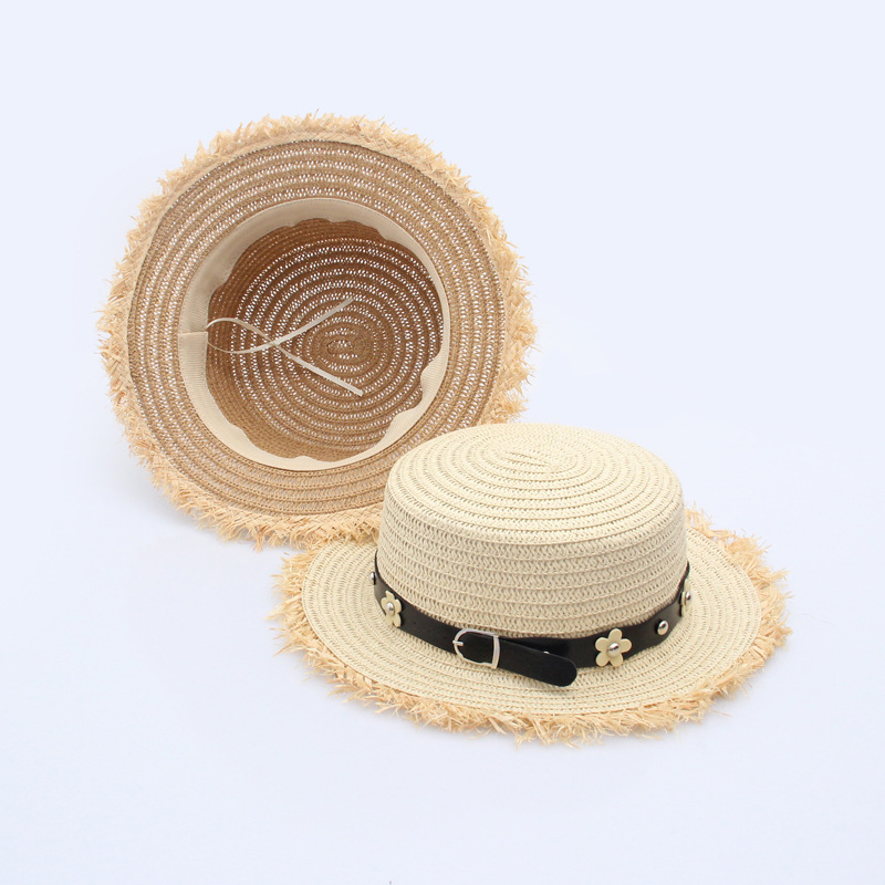 New Summer Women Sun Hat Beach Hats Ladies Wide Brim Sunscreen Girls Travel Shade Black Belt Floral Rivet Daisy Flower Foldable