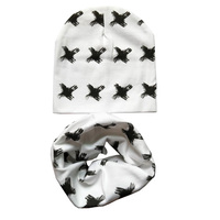 Wholesale 10set Lot Baby Hat Scarf Baby Cap Sets Children Cotton Scarf Collar Cute Baby Beanies