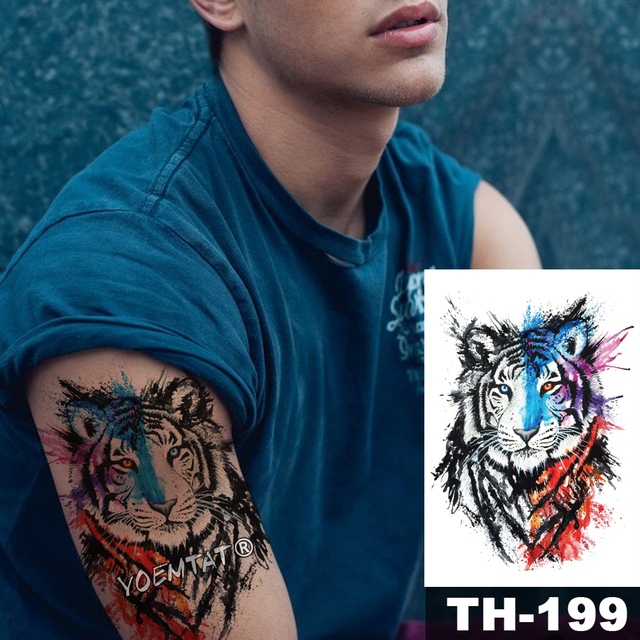 1 Sheet Animal Fake Tattoo Sticker Wolf Tiger Fox Cool Temporary Waterproof Body Art Tatoo Colored Draw For Women Men 3