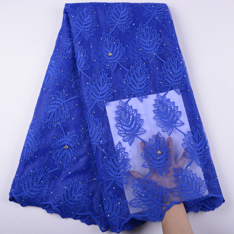High Quality African Lace 2019 Royal Blue African Lace Fabric Soft Milk Silk French Lace Fabric