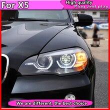 รถจัดแต่งทรงผมสำหรับBMW X5 E70 2007 2013 สำหรับBMW X5 หัวโคมไฟLEDอัตโนมัติDRL Double Beam h7 HID Xenon Bi Xenonเลนส์