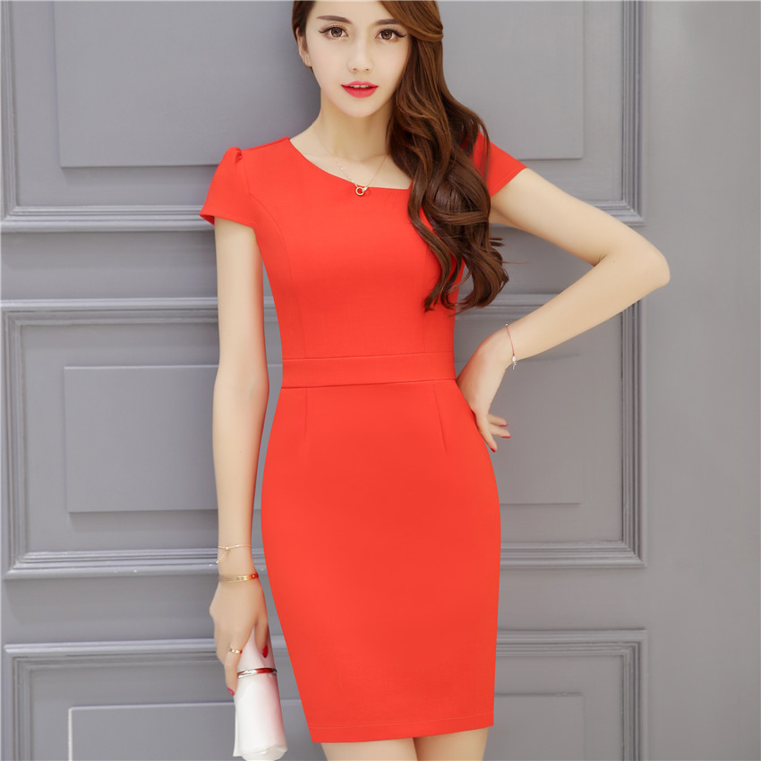 58e1164f0d07 Women Chiffon Dress Work Clothing Short Sleeve Plus Size Office Dresses  2017 New Summer OL Style Workwear Uniform-in Dresses from Women's Clothing  on ...