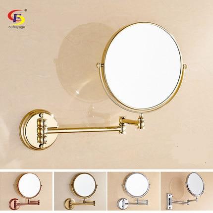 Free Shipping Copper Rose Gold Antique Bathroom Makeup Mirror Wall  Retractable Folding Cosmetic Mirror Vanity Mirror