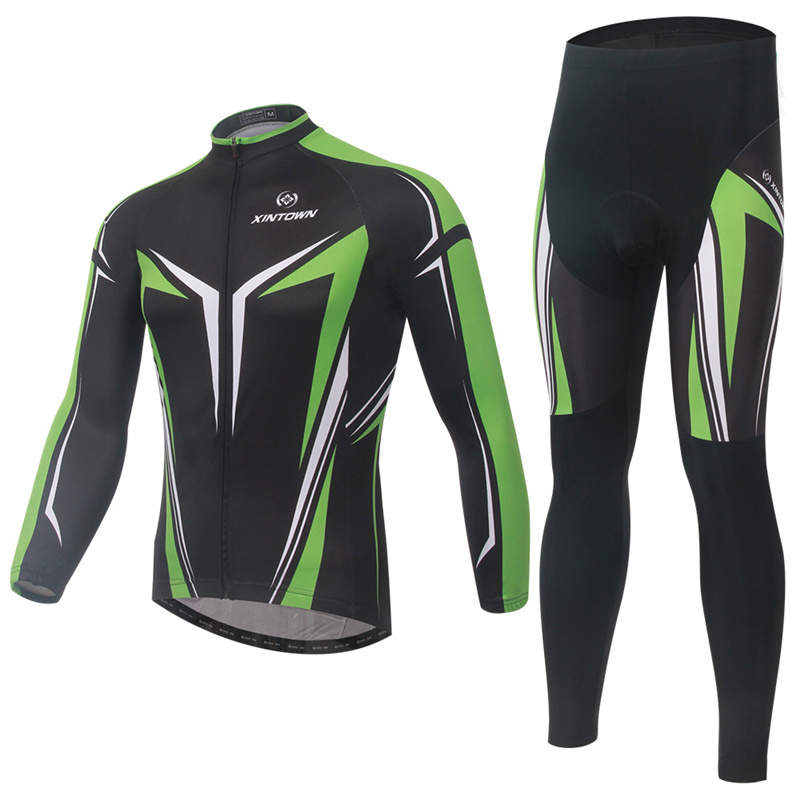 New Unisex Cycling Wear Cloth Sets Polyerter Jacket+Trousers Exercise Cycling Sets Short/Long Sleeve Absorption Sweat Underwear