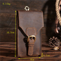 Men Genuine Leather Phone Cover Case Pocket Hip Belt Pack Waist Father Gift for Samsung Galaxy S10+ Ulefone Power 3L Xgody P20