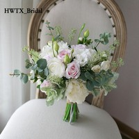 Taze Yeşil Pembe Mori Yapay Düğün Buket Gelin Tutan Gül Yaprak şeklinde Broş Düğün Süslemeleri Nedime Çiçekler