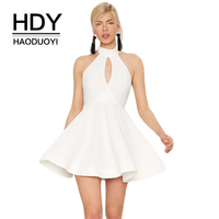 HDY Haoduoyi Brand 2017 Women Sexy White Mini Dresses Hollow Out Back Halter A Line Style