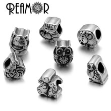 REAMOR 5pcs/lot 316l Stainless Steel Cartoon Animal Beads Cat & Owl & Cock Big Hole Beads For Bracelet Jewelry Making Wholesale