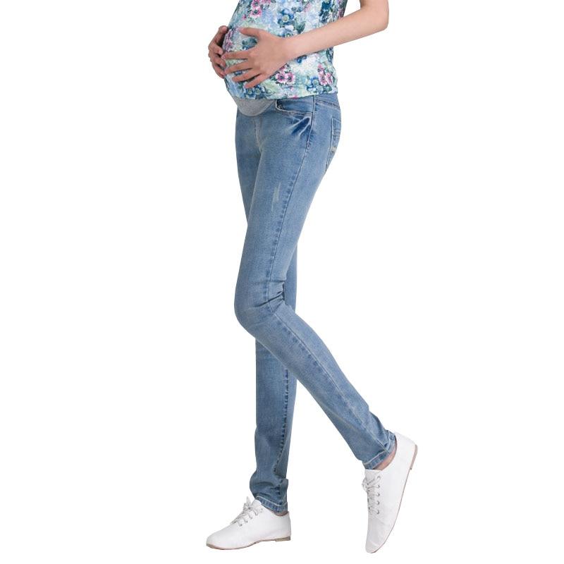 8e75fc199 Ajustable Denim Vaqueros Maternidad embarazo ropa para mujeres embarazadas  cintura elástica Pantalones ropa Pantalones Maternidad otoño en Pantalones  ...