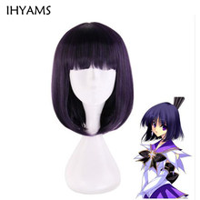 Anime Sailor Moon Sailor Saturn peruka Cosplay peruki Tomoe Hotaru 35cm fioletowy czarny Mix krótki Bobo syntetyczne peruki do włosów + czapka z peruką(China)
