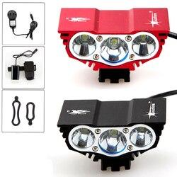 1800 lumenów 3x XM L U2 głowica led rowerowa przednia reflektor rowerowy lampa lekka latarka czołowa 6400mAh akumulator z ładowarką|Oświetlenie rowerowe|Sport i rozrywka -