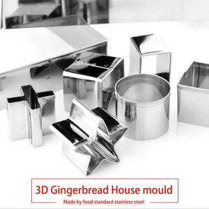 Image 5 - 10PCS 3D Stainless Steel Scenery Christmas Cookie Cutter Set Cookie Biscuit Mold House Fondant Cutter Baking Tool