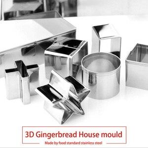 Image 5 - Conjunto de cortadores de galletas 3D de acero inoxidable para Navidad, molde para galletas, galletas, Fondant para casa, herramienta para hornear y cortar, 10 Uds.