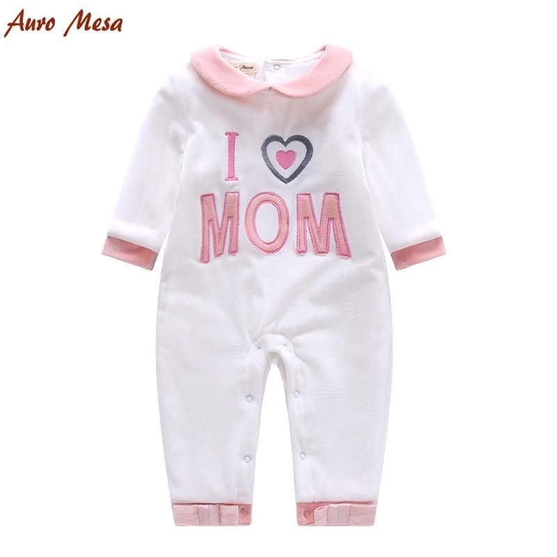 New 2016 Autumn Winter I love Mom Baby Romper Velvet White Infant Girl Jumpsuit Soft Newborn Clothing