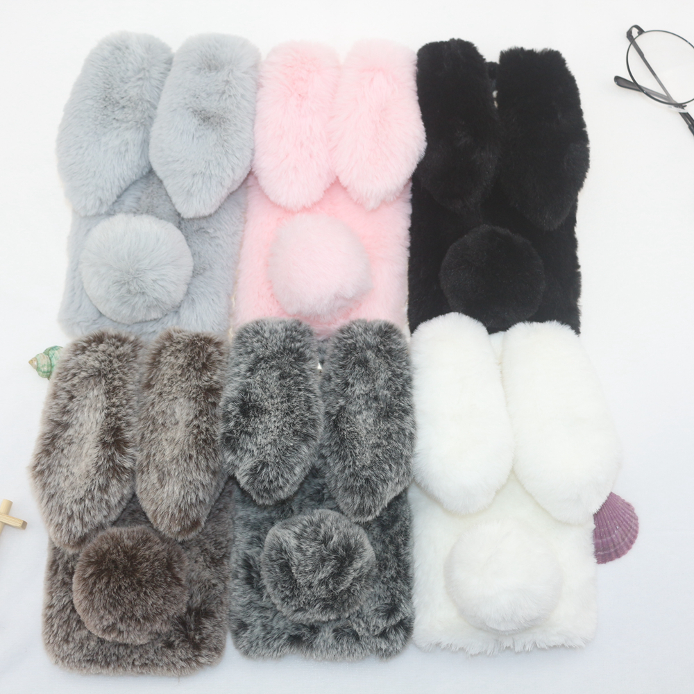 Rabbit Fur Cases For Samsung Galaxy M10 M20 Note <font><b>8</b></font> <font><b>9</b></font> <font><b>5</b></font> S10 Lite S10E S9 Plus S8 S7 S6 Edge M30 Note 10 Pro J7 C8 Max Wrm Covers image