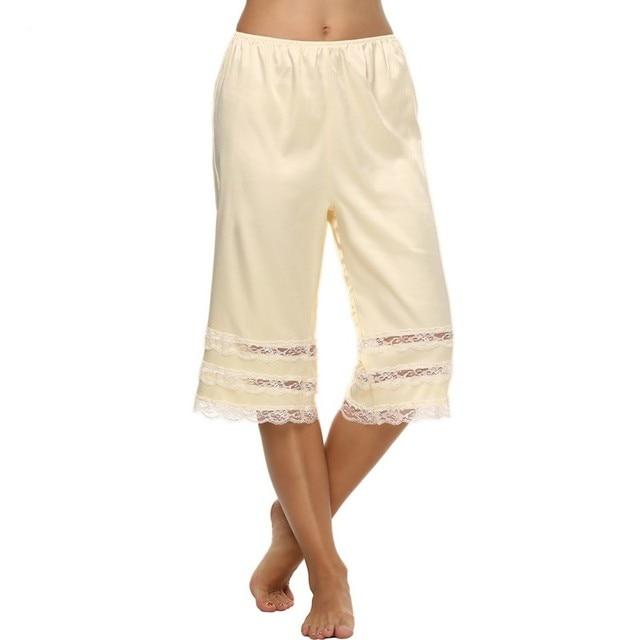 47cab43cf HALIFE Summer Long Womens Slip Elastic Waist Pant Liner Slips Satin Fabric  Laciness Trim Pettipants Black White Trousers XXL