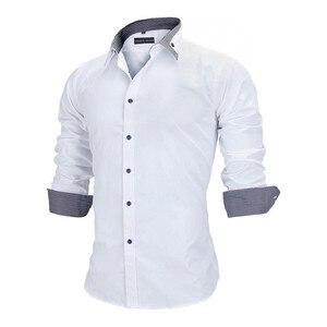 Image 2 - VISADA JAUNA Camiseta de manga larga para hombre, camisa masculina de manga larga con estampado de retales de algodón, informal, ajustada para oficina, talla europea, 2018