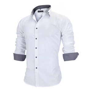 Image 2 - VISADA JAUNA europejski rozmiar nowy 2018 koszula męska męska koszula z długimi rękawami bawełna wymieniony patchworkowy w stylu Casual Slim Fit koszula biurowa