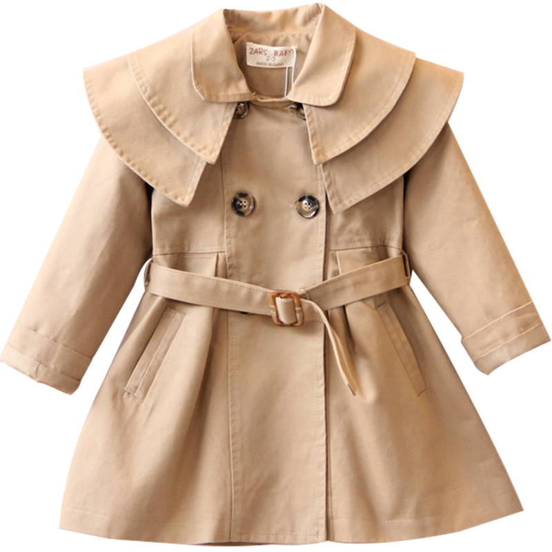 Fashion Girls Button Windbreaker Jacket Children Clothing Girl's Trench Coats Winter Trench Wind Dust Outerwear Kids School Wear