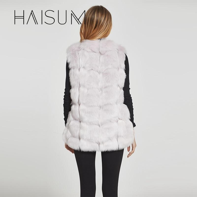 Haisum Yüksek kalite Kürk Yelek ceket Lüks Faux Fox Sıcak Kadın - Bayan Giyimi - Fotoğraf 5