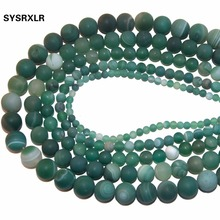Wholesale Dull Polish Green Banded Agat Natural Stone Round Beads For Jewelry Making DIY Necklaces Bracelets 4 6 8 10 12 MM