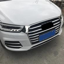 Хромированный ABS передний бампер решетка воздуха гриль декоративная накладка для Audi Q3- автомобиля передние противотуманные фары полосы
