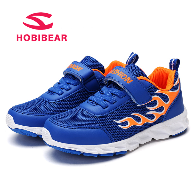 HOBIBEAR Sport Boys Shoes For Kids Sneakers Children Shoes Breathable Mesh Student Trainer School Footwear Hook&Loop Sneakers
