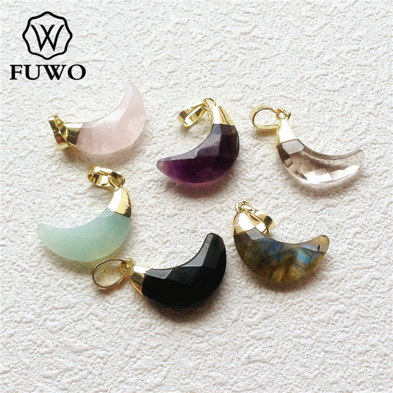 FUWO Faceted <font><b>Crystal</b></font> Quartz Crescent <font><b>Pendant</b></font> With 24K Gold Color Plated Fashion <font><b>Raw</b></font> Stone Jewelry For Necklace Making PD149 image