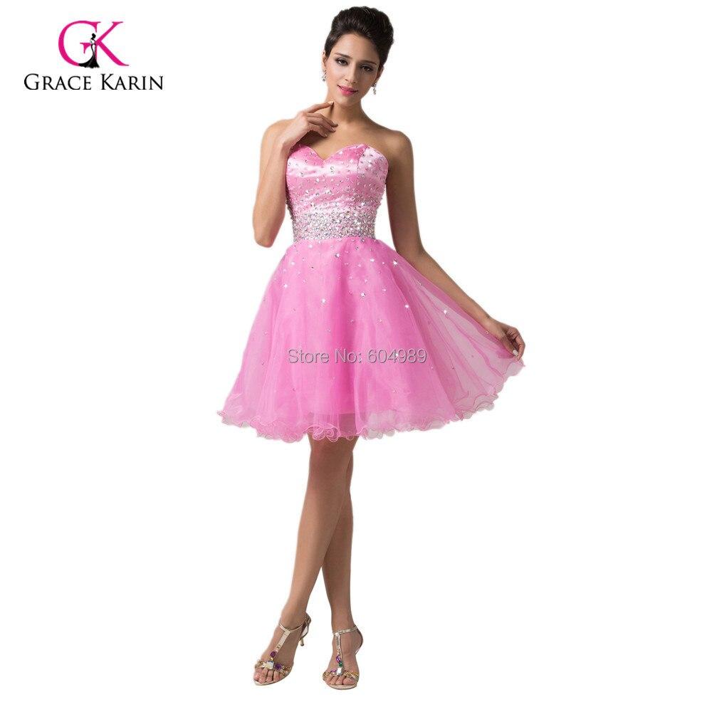 Color de rosa caliente / de color rosa oscuro cariño corto vestido ...