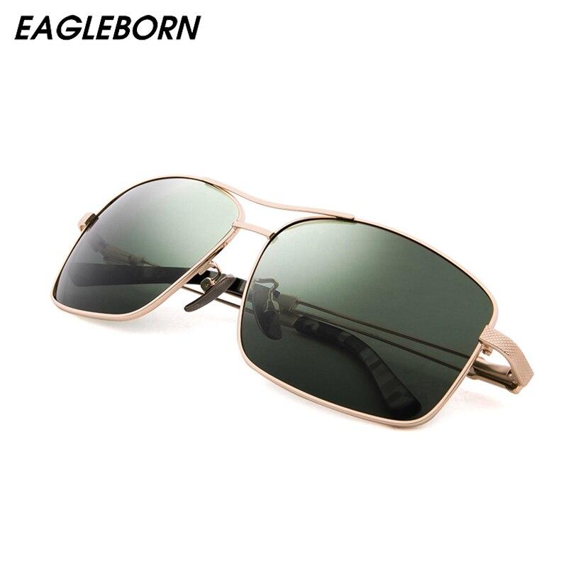 EAGLEBORN Brand memory titanium metal Sunglasses Polarized Men Women Fashion Retro Vintage Driving Mirrored Eyewear