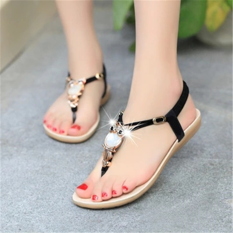 Sandalias Mujer 2018 Summer Sandals Beach Shoes Women Owl Crystal Flats Flip Flops Shoes Female Slip On Sandals zapatos mujer fashion sandals women flower flip flops summer shoes soft leather shoes woman breathable women sandals flats sandalias mujer x3