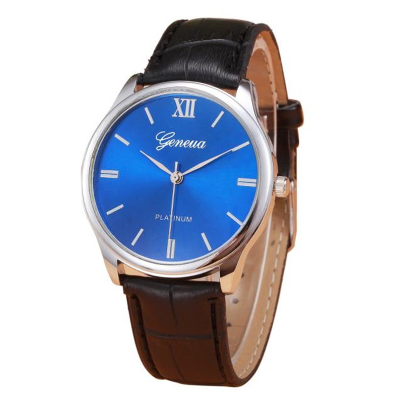2017 Woman Mens Retro Design Leather Band Analog Alloy Quartz Wrist Watch blue shope#3005