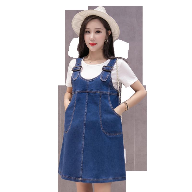 bddf8bcd01 Pengpious pregnant women shoulder-straps summer denim dress with pockets  plus size preppy style maternity