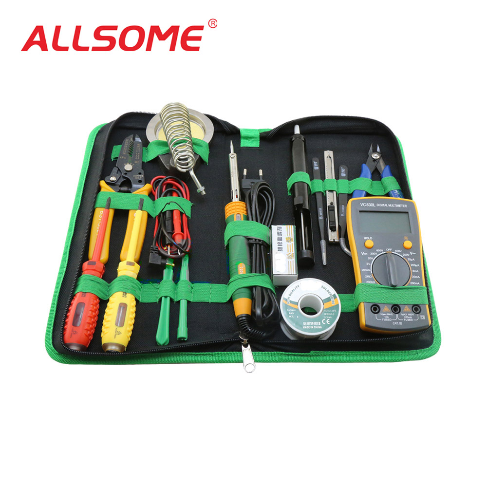 ALLSOME 16 in 1 Mobile Phone Repairing Tools with soldering iron multimeter for Phone Laptop PC