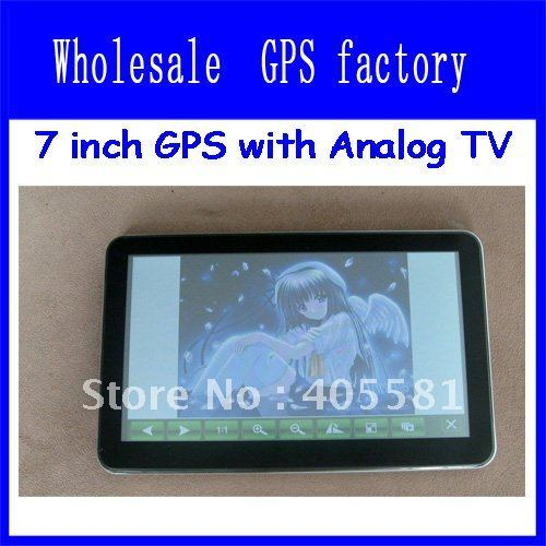 Free shipping  GPS 7 inch, Analog tv 7 inch gps navigator,with bluetooth,av-in,touch screen, GPS receiver with IGO8 map