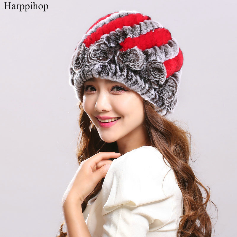 2017 new Hot Sales Women s Hats Winter Handmade Knitted Natural Rex Rabbit Fur Beanies With