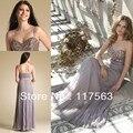Personalizados disponibles Sweetheart perlas y cristales Silver Grey gasa vestido de fiesta largo mujeres libres del envío WH429