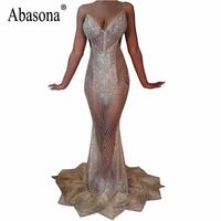 Abasona Women Evening Party Dresses Sparkle Sequin Long Maxi Mermaid Dress Summer Style Hollow Out Sexy