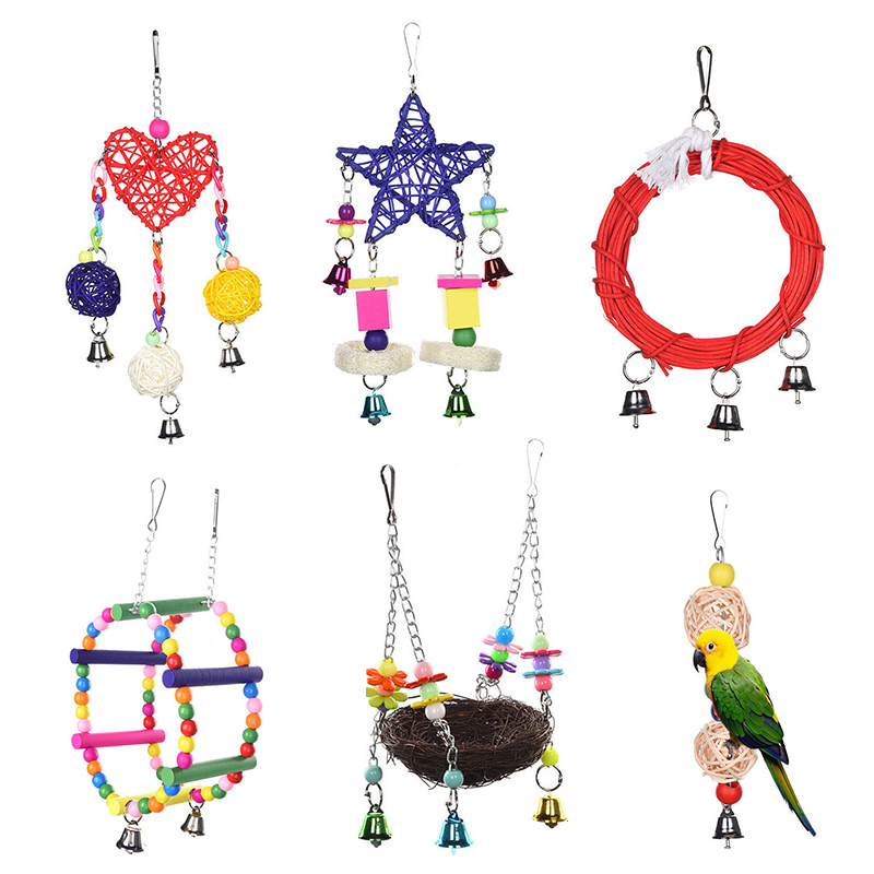 Mayitr Parrot Toys Pet Bird Bites Climb Chew Toy Hanging Cockatiel Parakeet Climb Chewing Cage With Bell Bird Toys Multi Styles