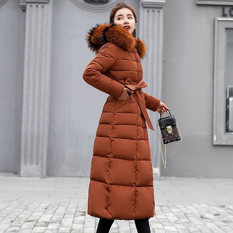 Image 2 - Fashion Winter Jacket Women Big Fur Belt Hooded Thick Down Parkas X Long Female Jacket Coat Slim Warm Winter Outwear 2019 New-in Parkas from Women's Clothing