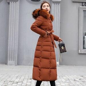 Image 2 - Fashion Winter Jacket Women Big Fur Belt Hooded Thick Down Parkas X Long Female Jacket Coat Slim Warm Winter Outwear