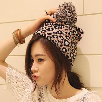 Free shipping wholesale ladies knitted hat Autumn and winter thermal leopard print large sphere fashion knitted hat pocket